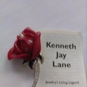 Kenneth Jay Lane Red Resin Rose Pin